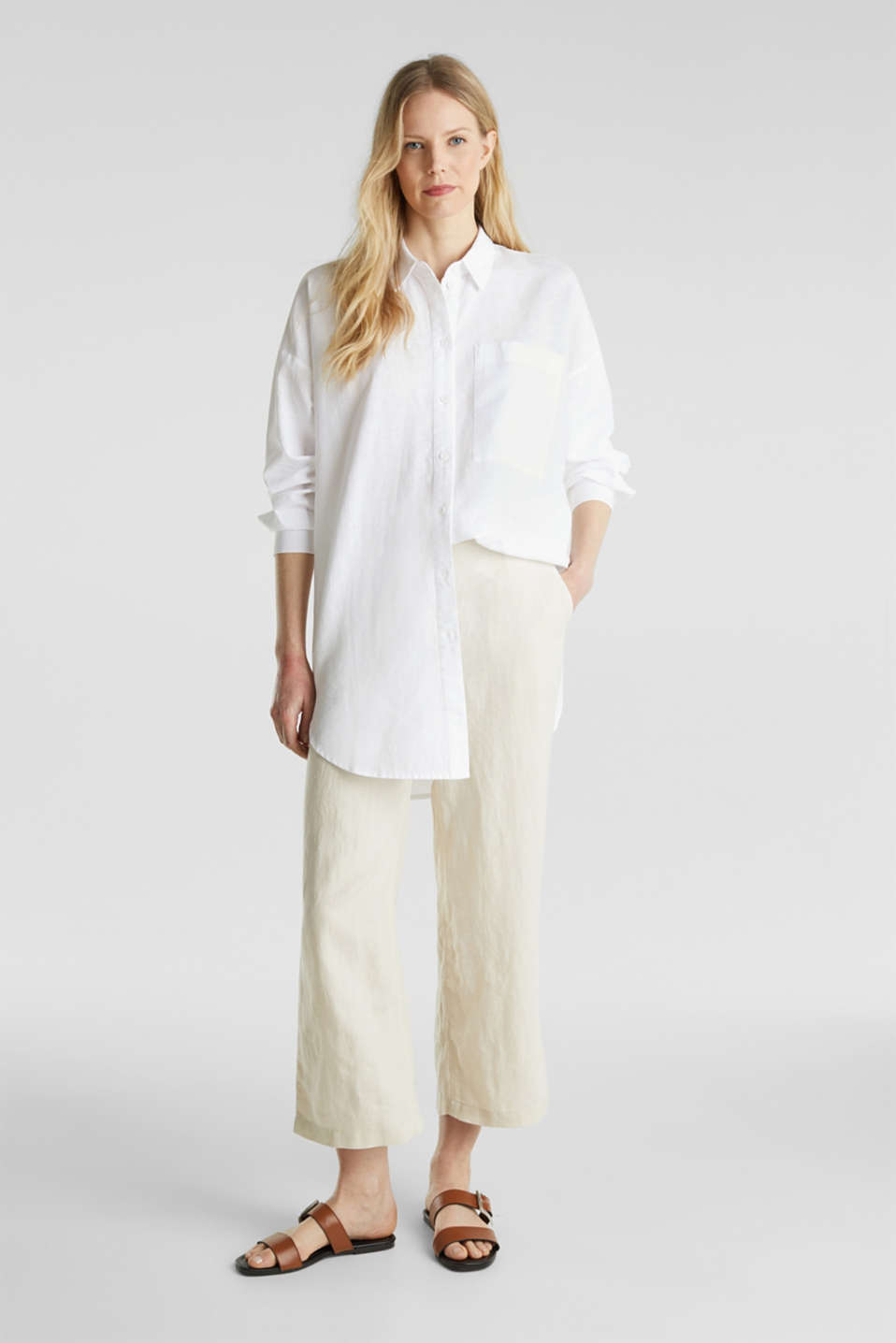 Linen blend: long shirt blouse, WHITE, detail image number 1
