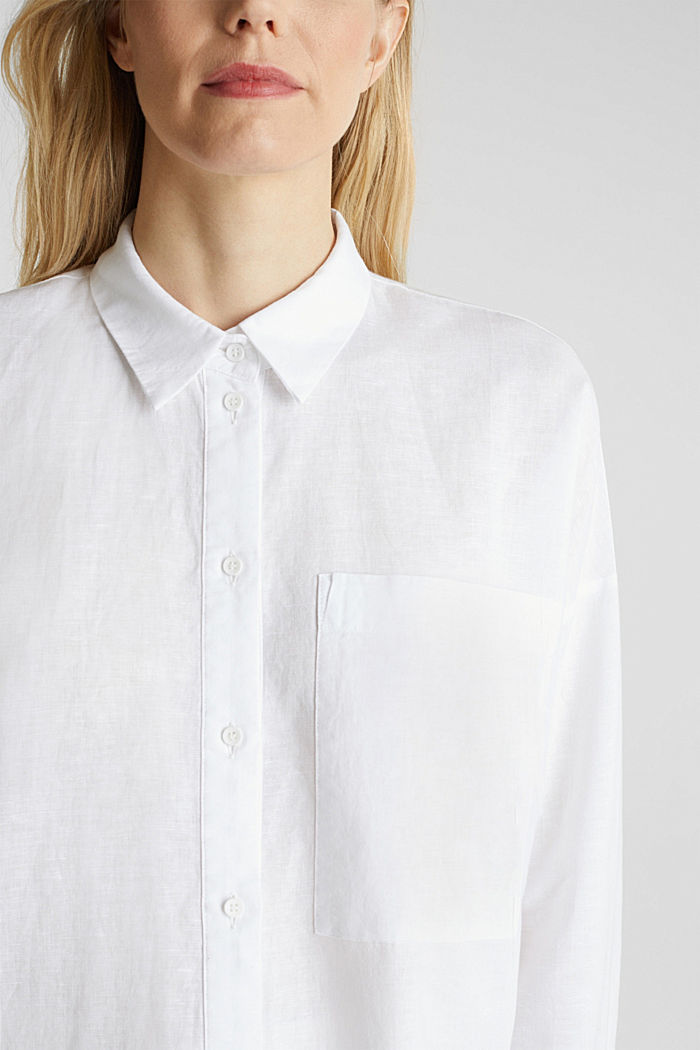 Linen blend: long shirt blouse, WHITE, detail image number 2