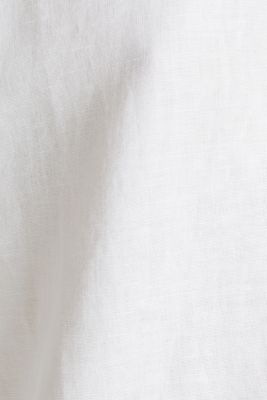 Linen blend: long shirt blouse, WHITE, detail