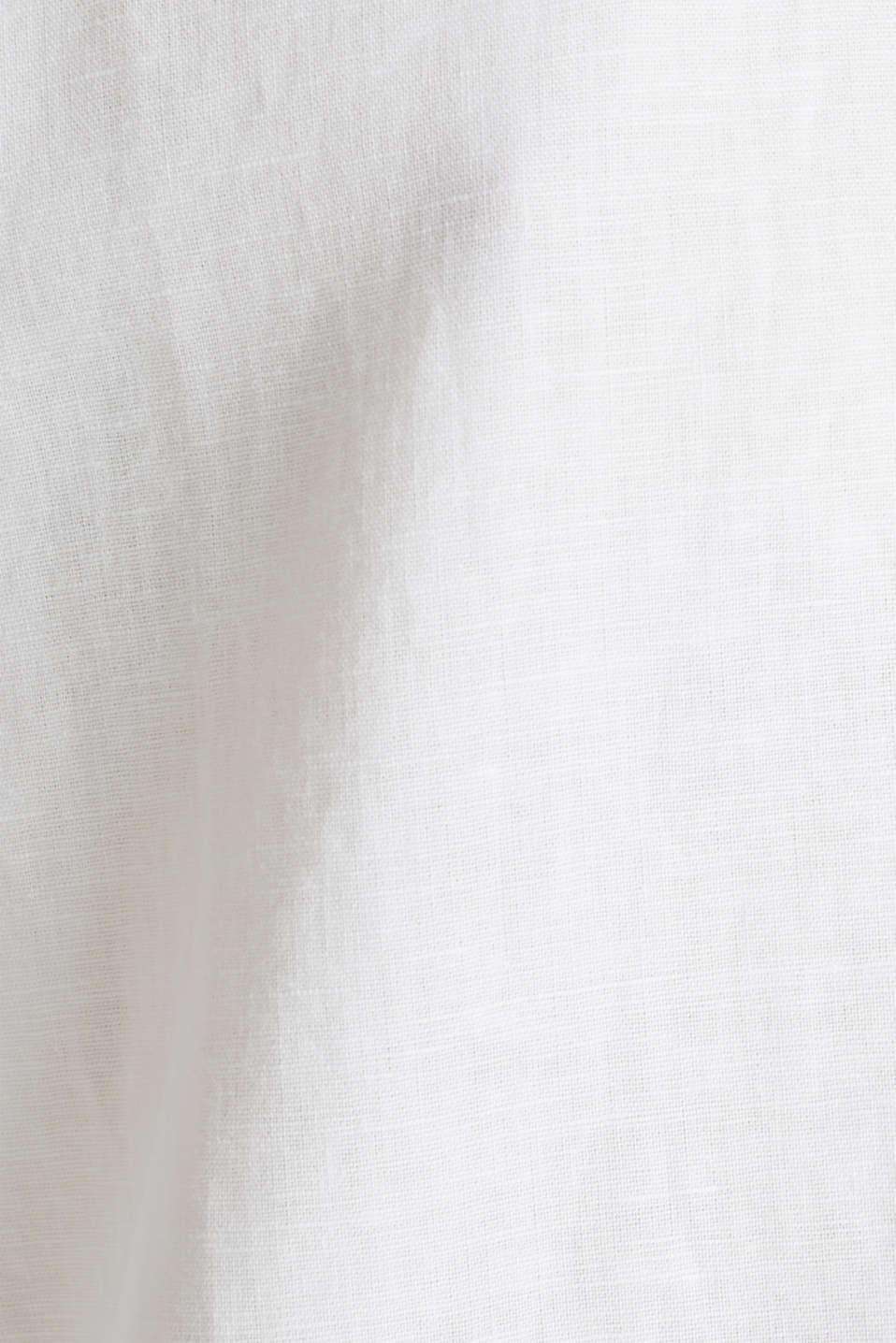 Linen blend: long shirt blouse, WHITE, detail image number 4