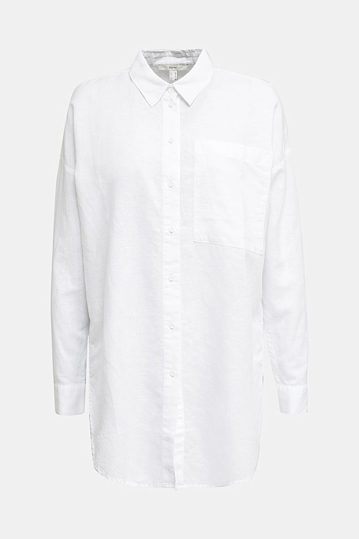 Linen blend: long shirt blouse, WHITE, detail image number 6