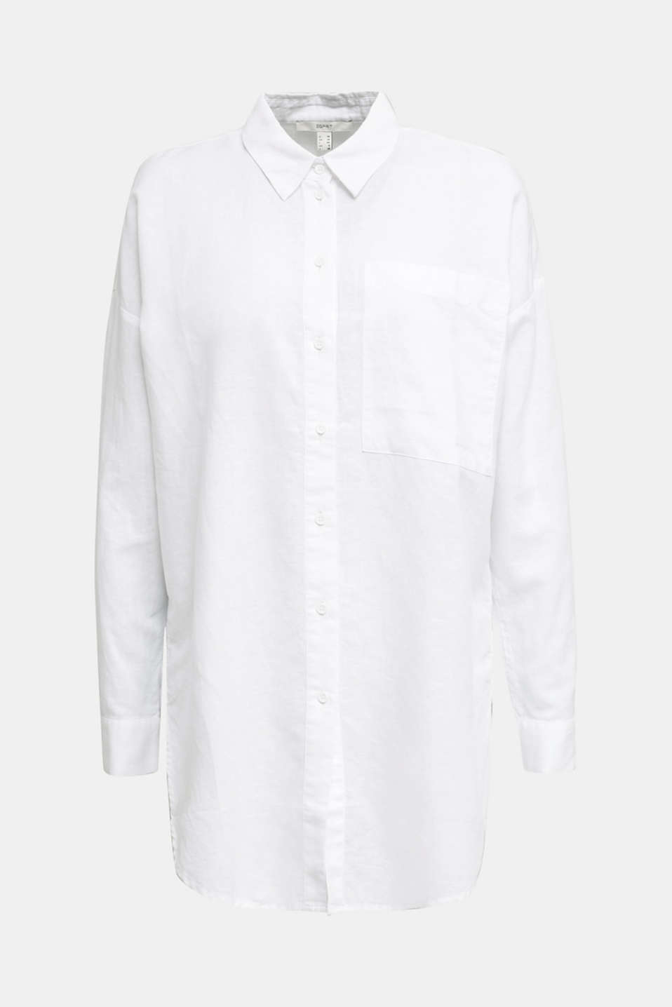 Linen blend: long shirt blouse, WHITE, detail image number 6