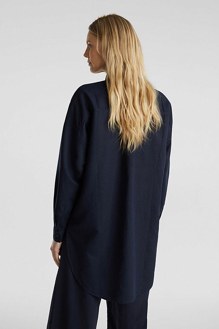 Linen blend: long shirt blouse, NAVY, detail image number 3