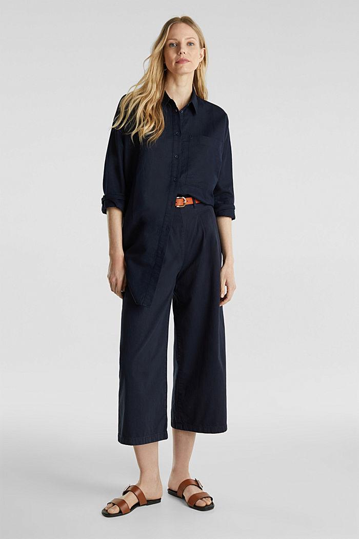 Linen blend: long shirt blouse, NAVY, detail image number 1