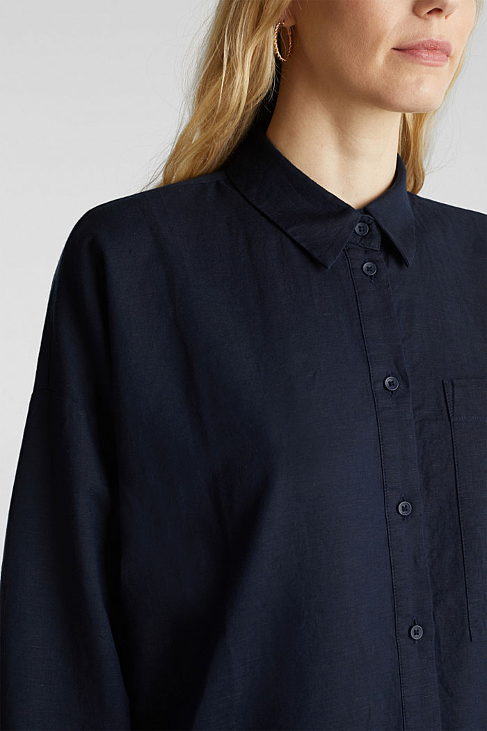 Linen blend: long shirt blouse, NAVY, detail image number 2