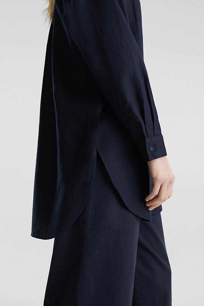 Linen blend: long shirt blouse, NAVY, detail image number 5