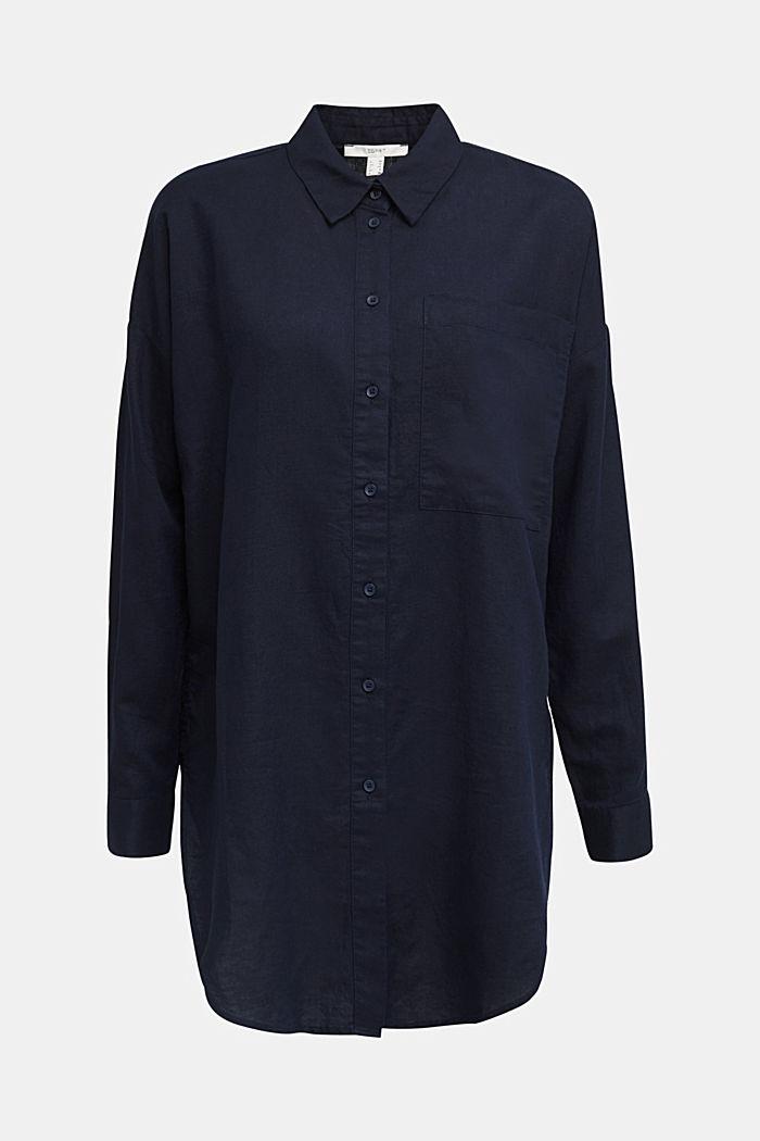Linen blend: long shirt blouse, NAVY, detail image number 6