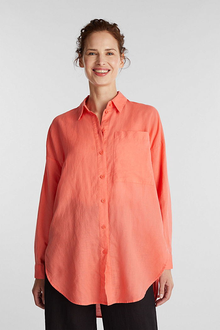 Linen blend: long shirt blouse, CORAL, detail image number 0