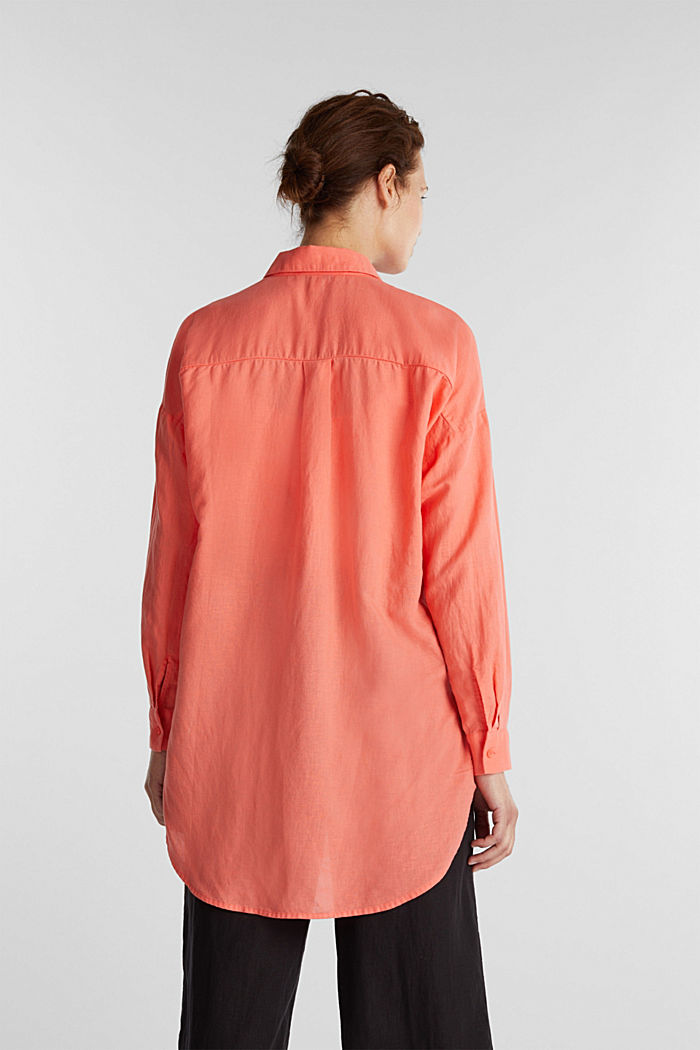 Linen blend: long shirt blouse, CORAL, detail image number 3