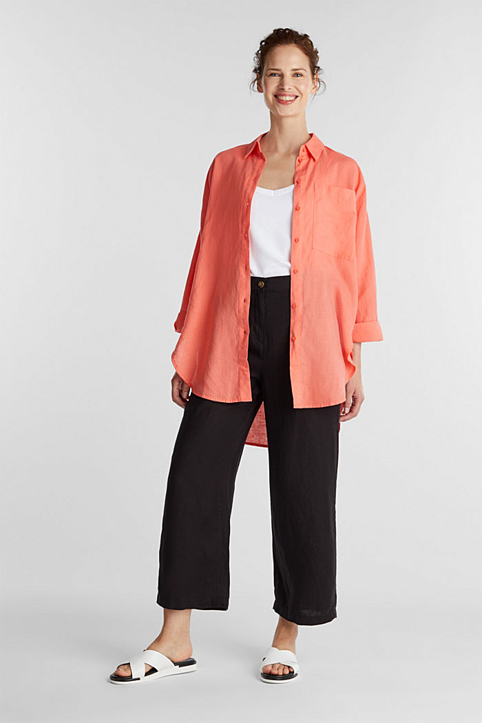 Linen blend: long shirt blouse, CORAL, detail image number 1