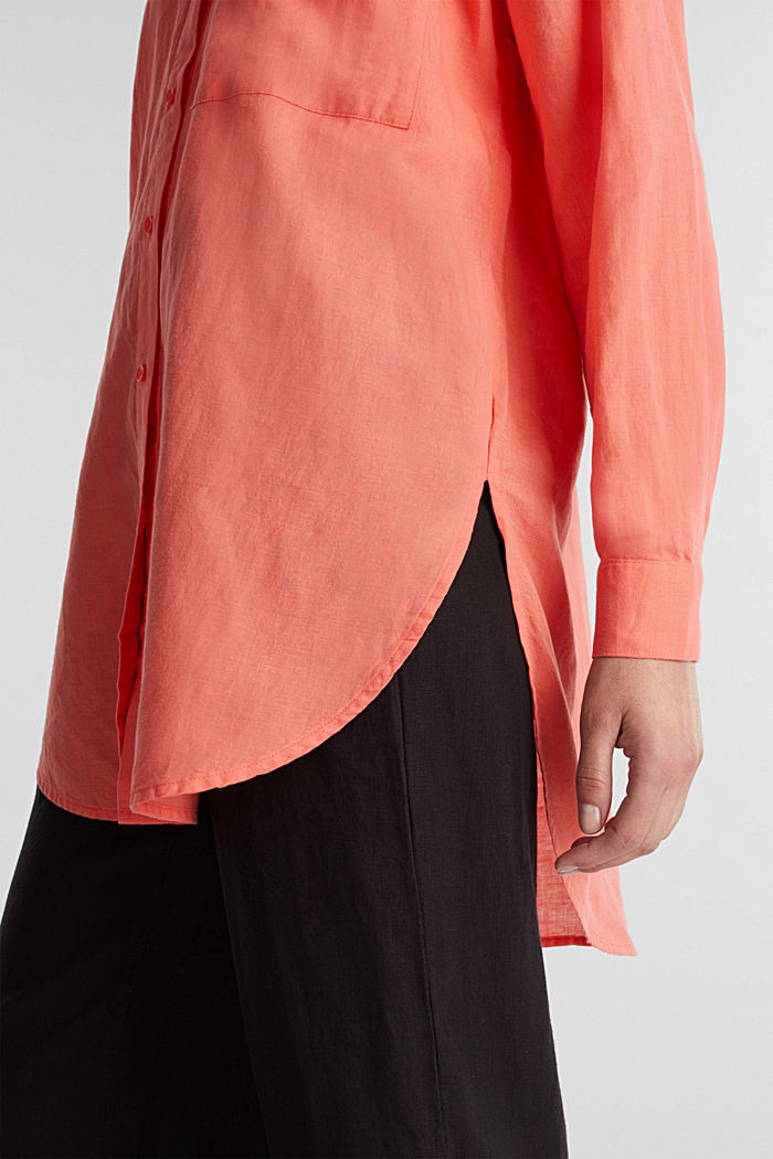 Linen blend: long shirt blouse, CORAL, detail image number 2