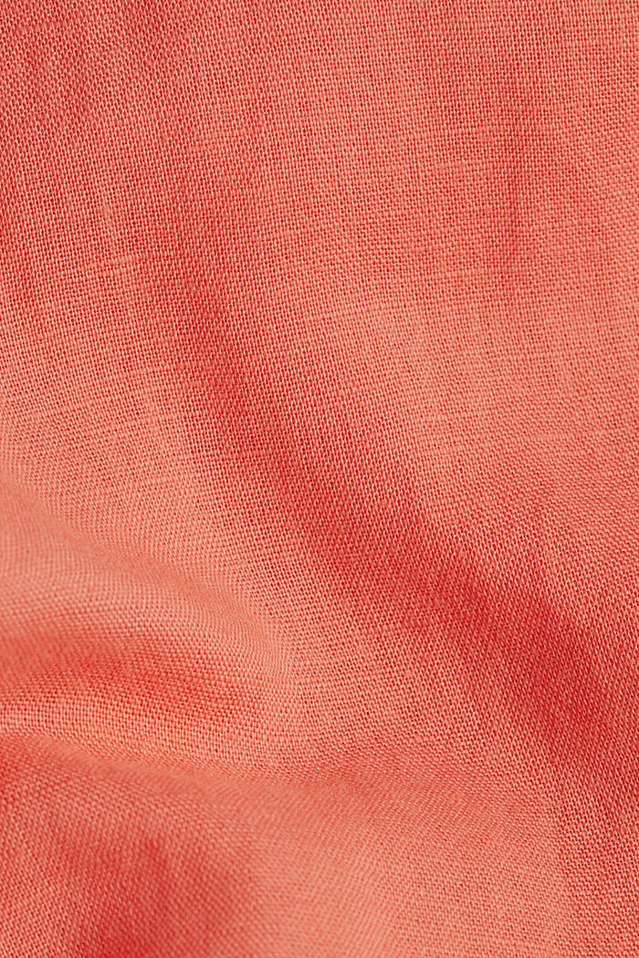 Linen blend: long shirt blouse, CORAL, detail image number 4