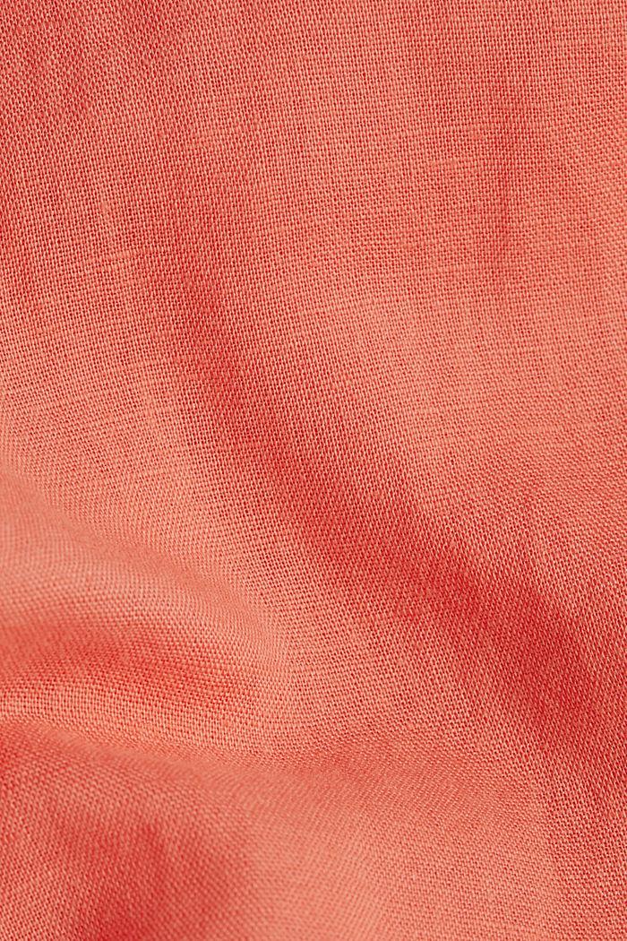 Leinen-Mix: lange Hemdbluse, CORAL, detail image number 4