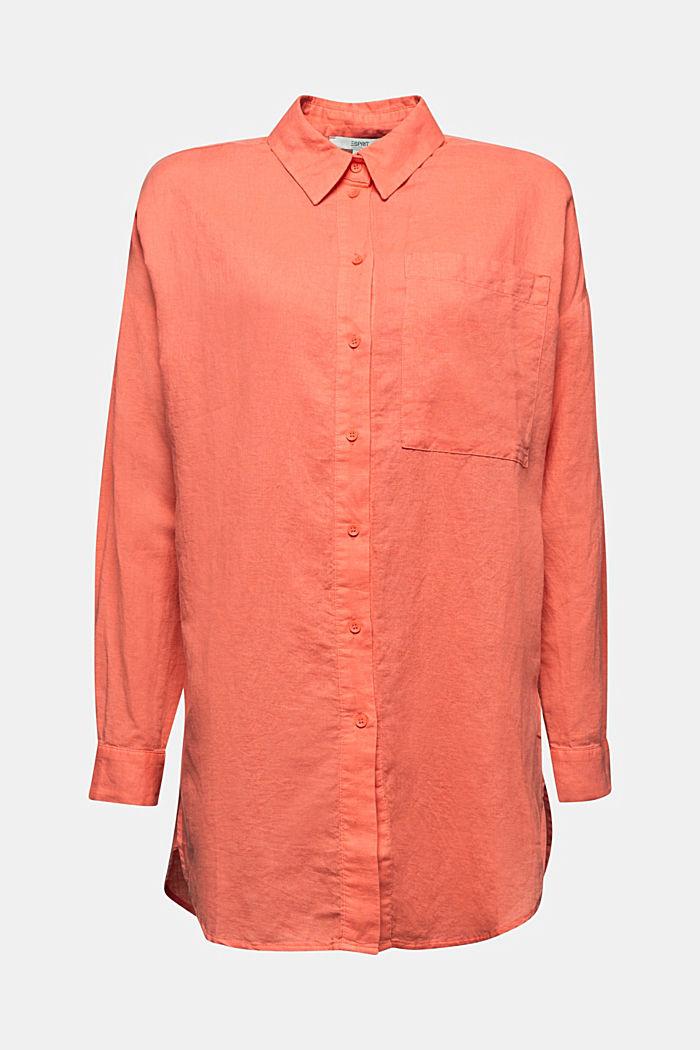 Linen blend: long shirt blouse