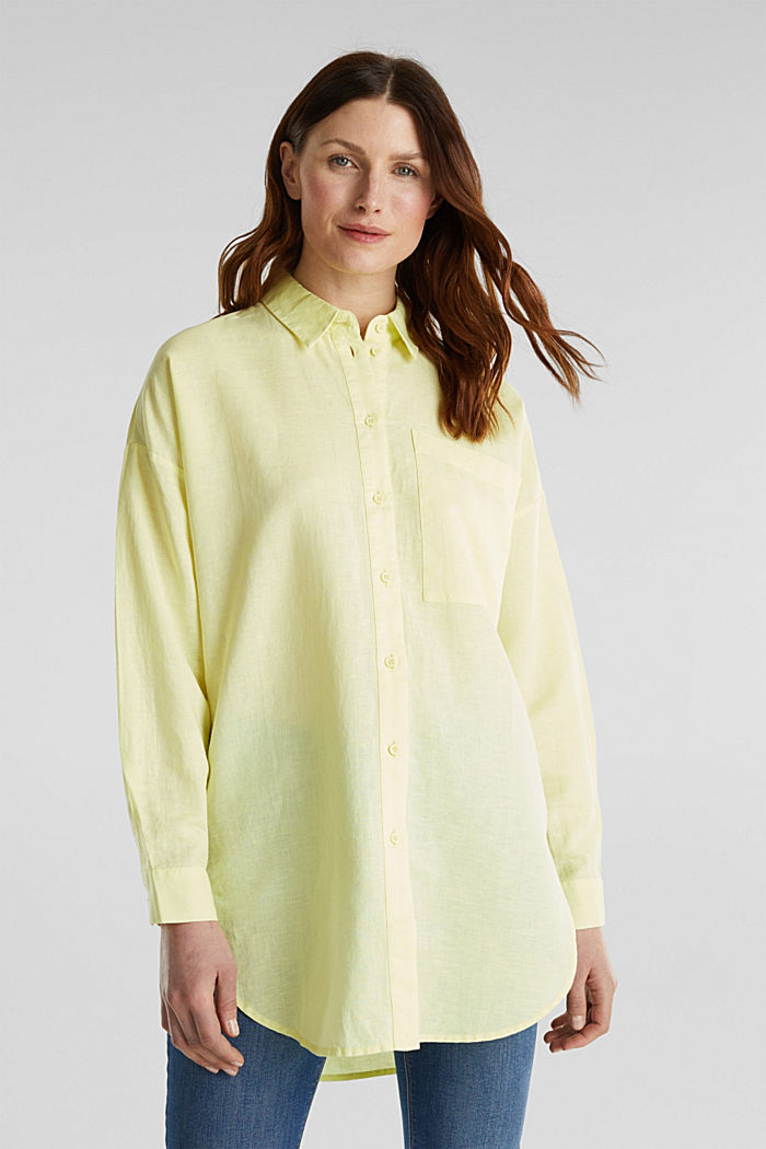 Linen blend: long shirt blouse, LIME YELLOW, detail image number 0