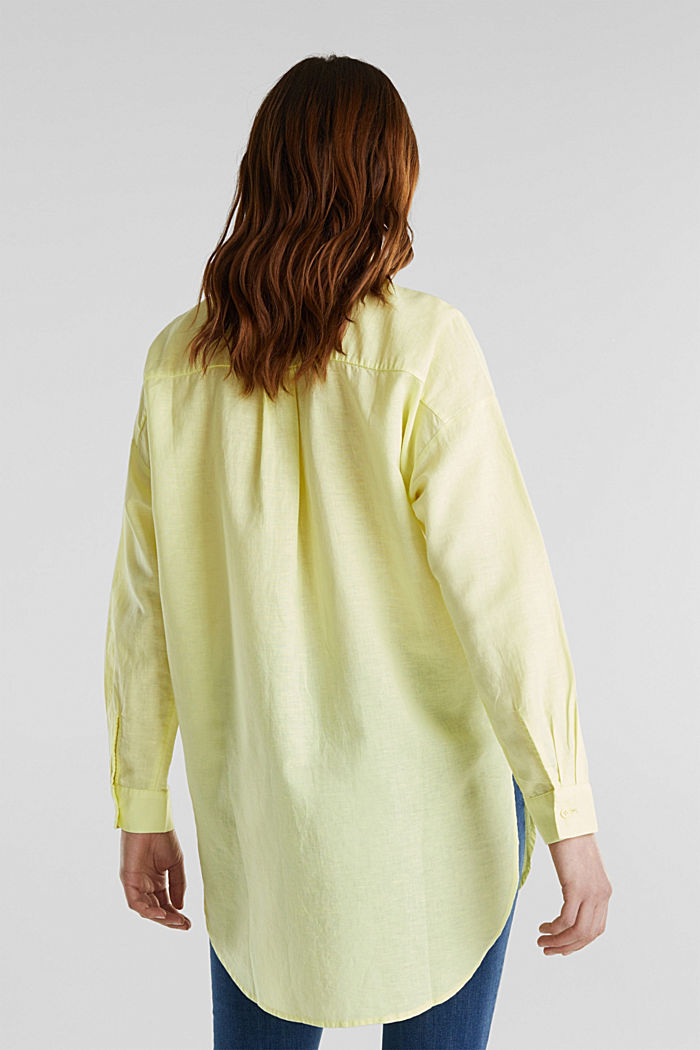 Linen blend: long shirt blouse, LIME YELLOW, detail image number 2