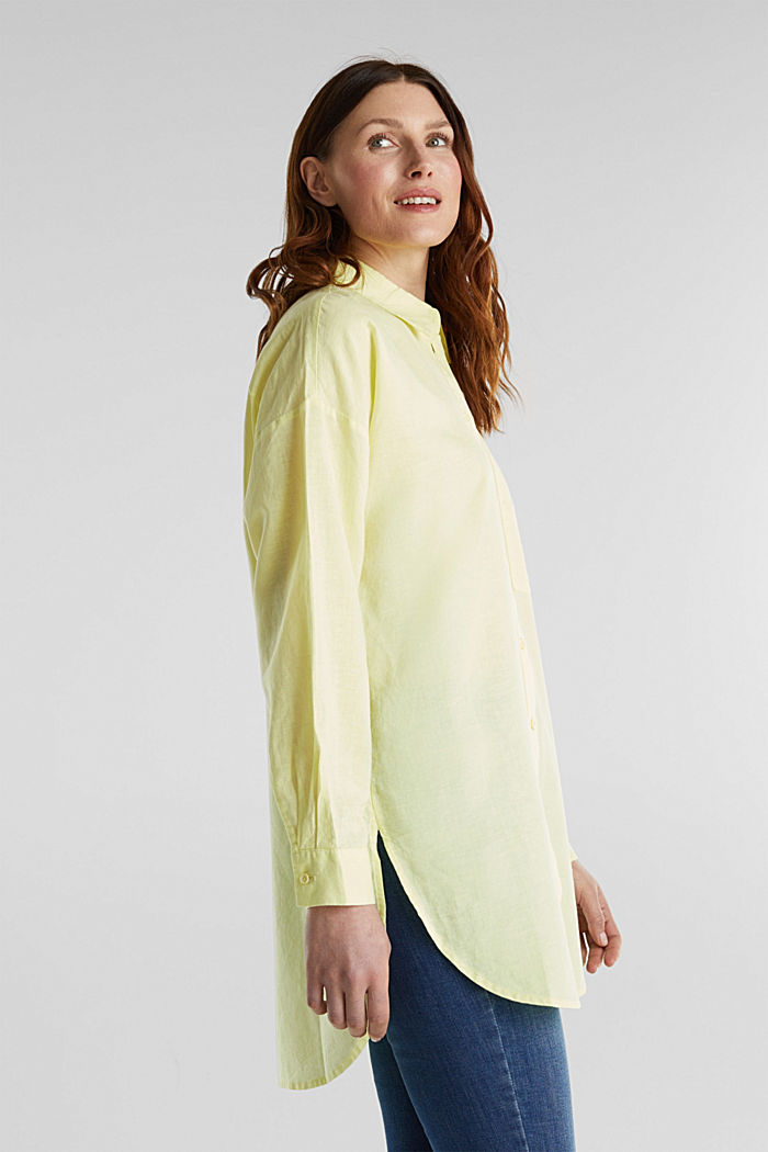Linen blend: long shirt blouse, LIME YELLOW, detail image number 4