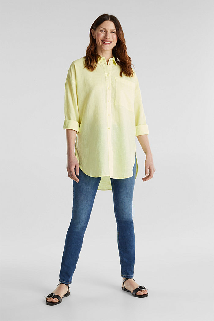 Linen blend: long shirt blouse, LIME YELLOW, detail image number 1