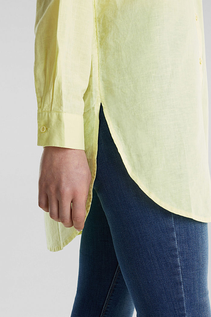 Linen blend: long shirt blouse, LIME YELLOW, detail image number 5
