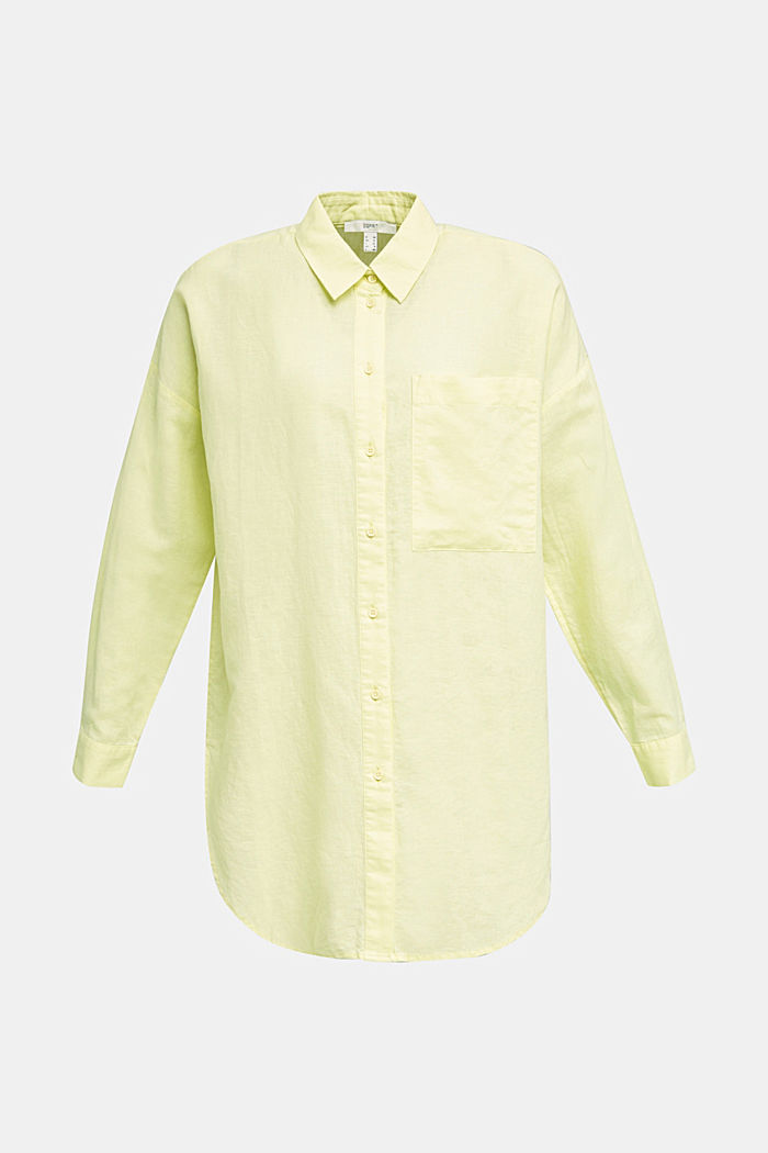 Linen blend: long shirt blouse, LIME YELLOW, detail image number 7