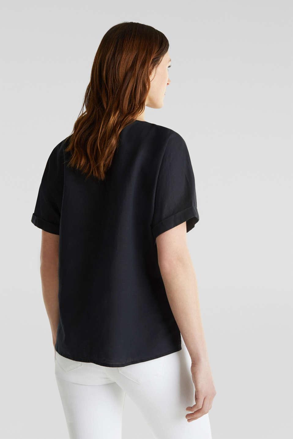 Linen blend: Blouse in a shirt shape, BLACK, detail image number 2