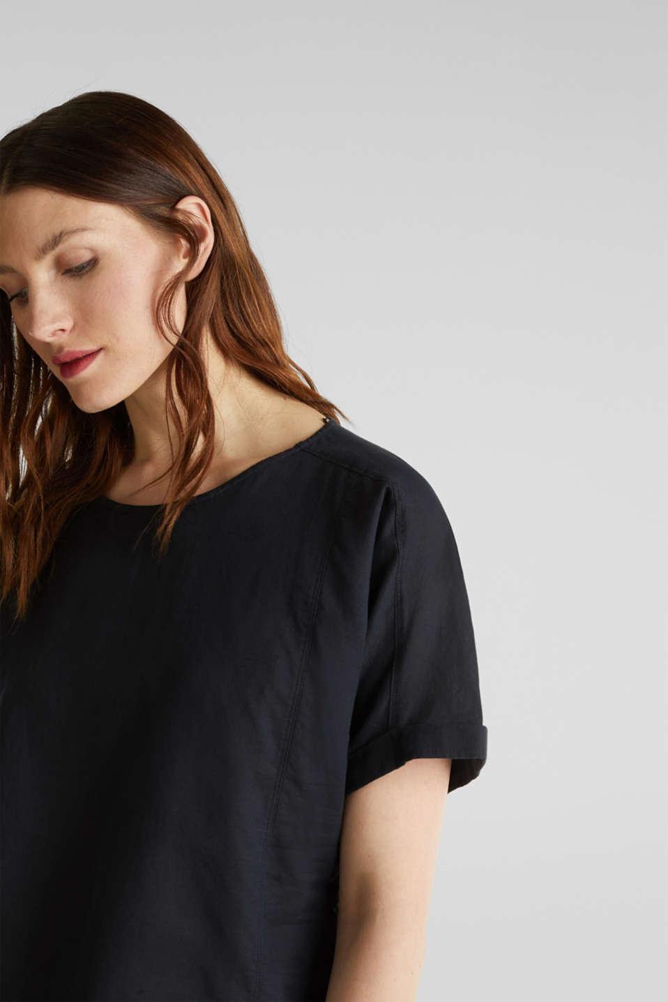 Linen blend: Blouse in a shirt shape, BLACK, detail image number 1