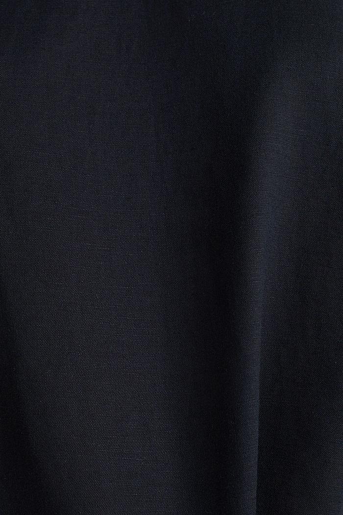 Linen blend: Blouse in a shirt shape, BLACK, detail image number 3