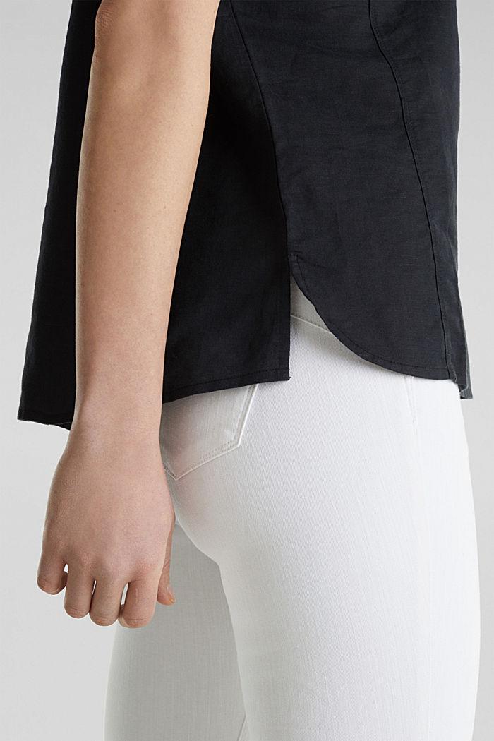 Linen blend: Blouse in a shirt shape, BLACK, detail image number 4