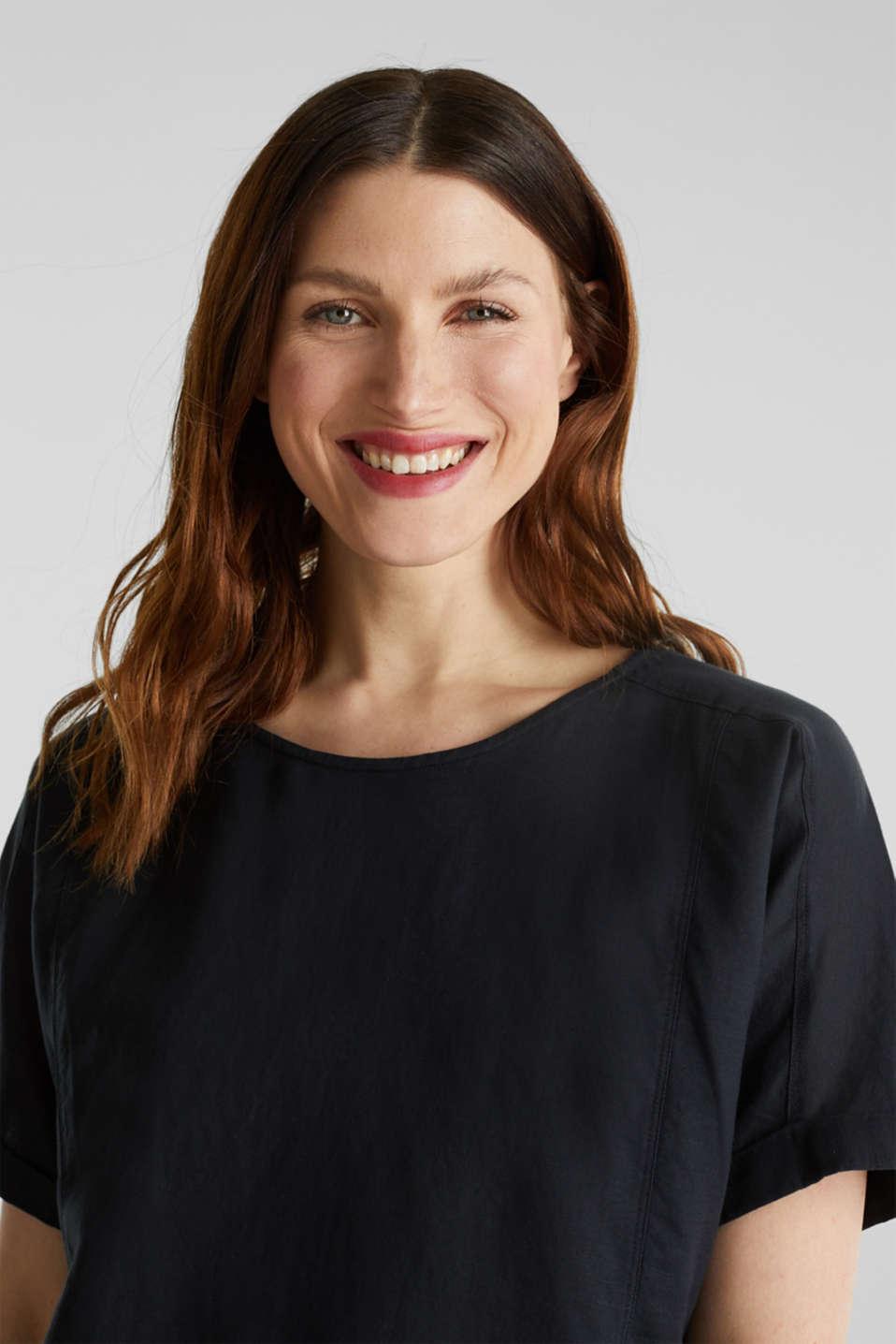 Linen blend: Blouse in a shirt shape, BLACK, detail image number 5