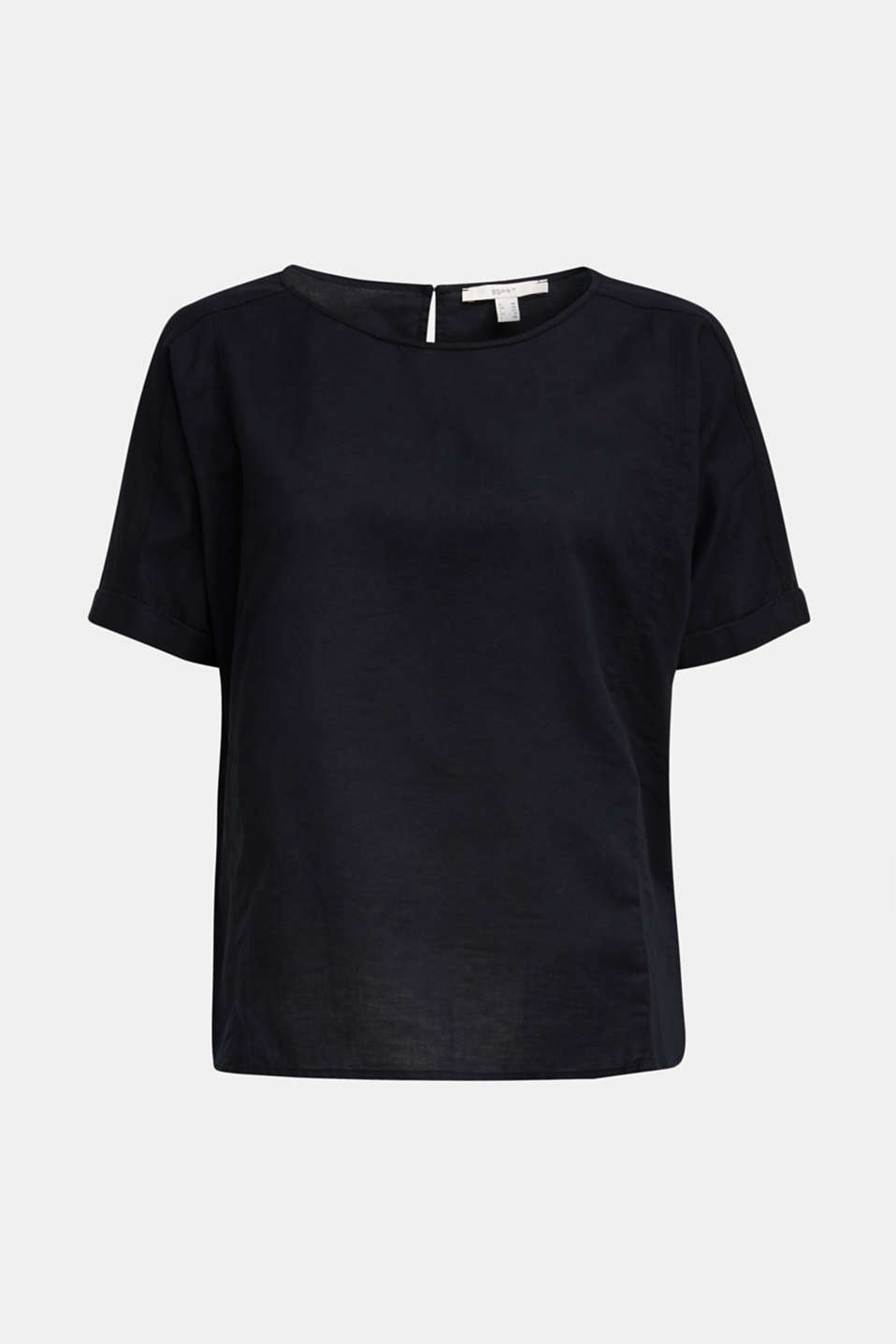 Linen blend: Blouse in a shirt shape, BLACK, detail image number 6