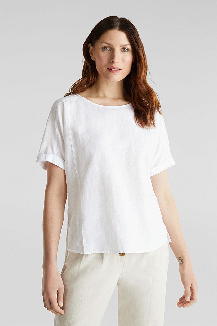Aus Leinen-Mix: Bluse mit Shirt-Shape, WHITE, detail image number 0