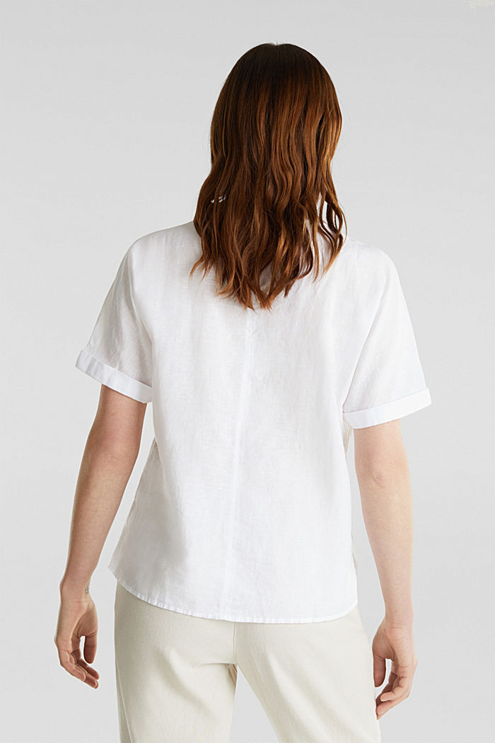 Aus Leinen-Mix: Bluse mit Shirt-Shape, WHITE, detail image number 3