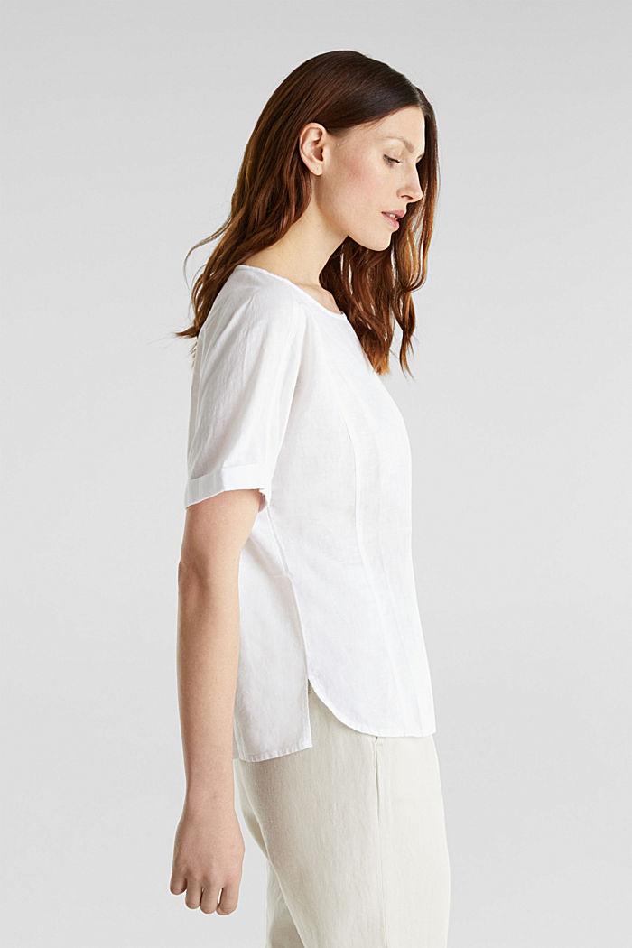 Aus Leinen-Mix: Bluse mit Shirt-Shape, WHITE, detail image number 5