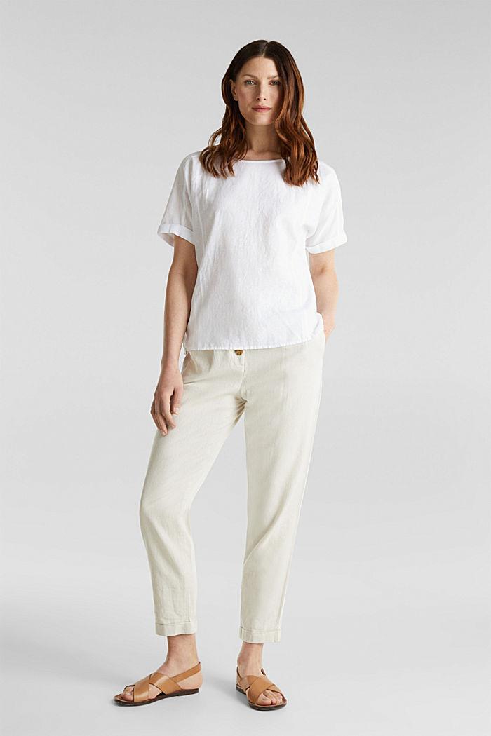 Aus Leinen-Mix: Bluse mit Shirt-Shape, WHITE, detail image number 1