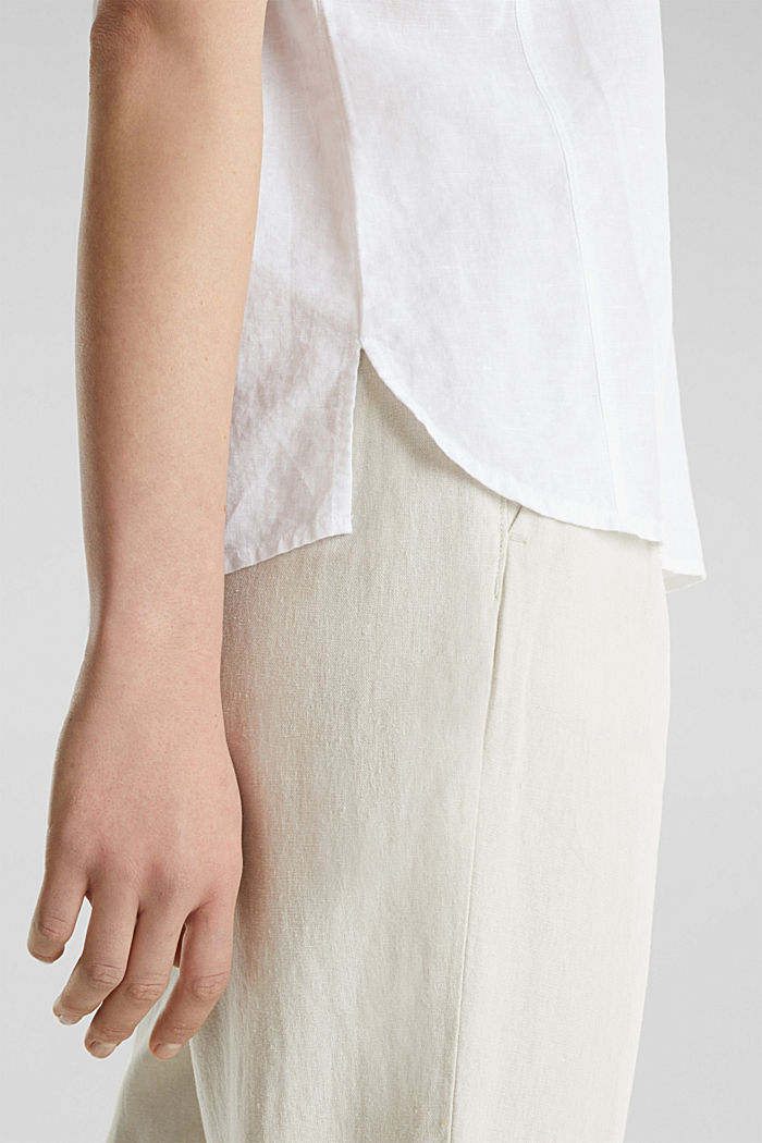 Aus Leinen-Mix: Bluse mit Shirt-Shape, WHITE, detail image number 2