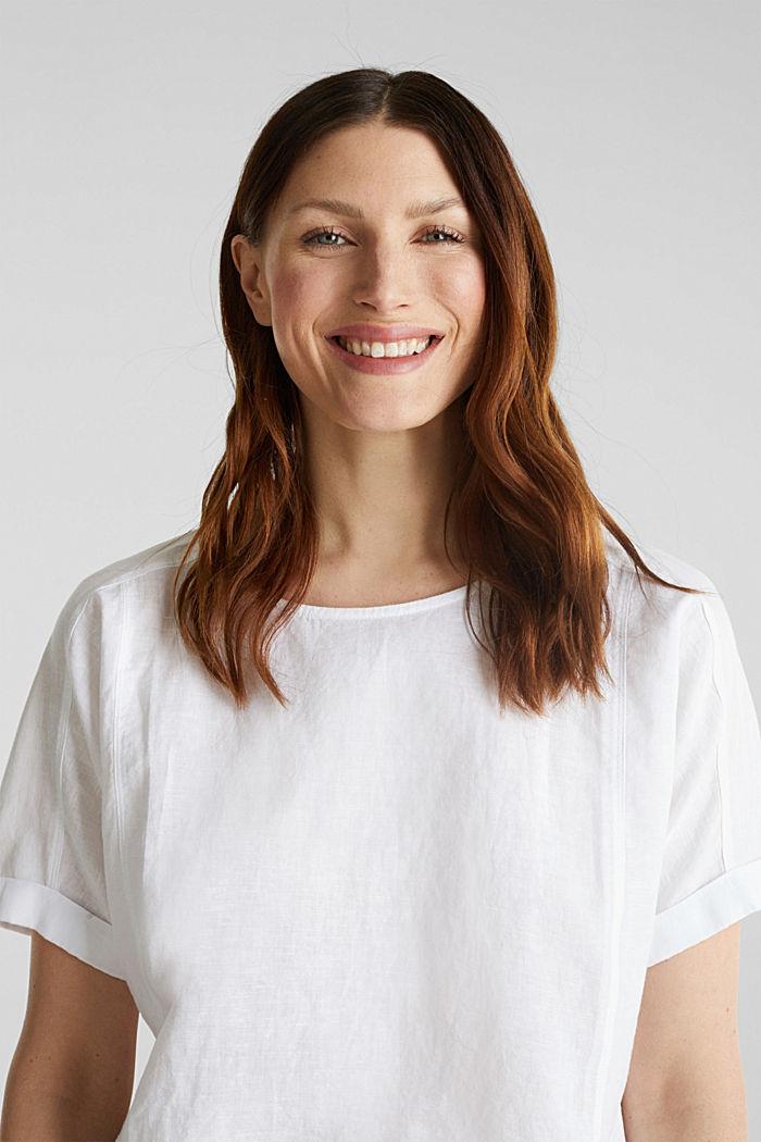 Van een linnenmix: blouse met shirtmodel