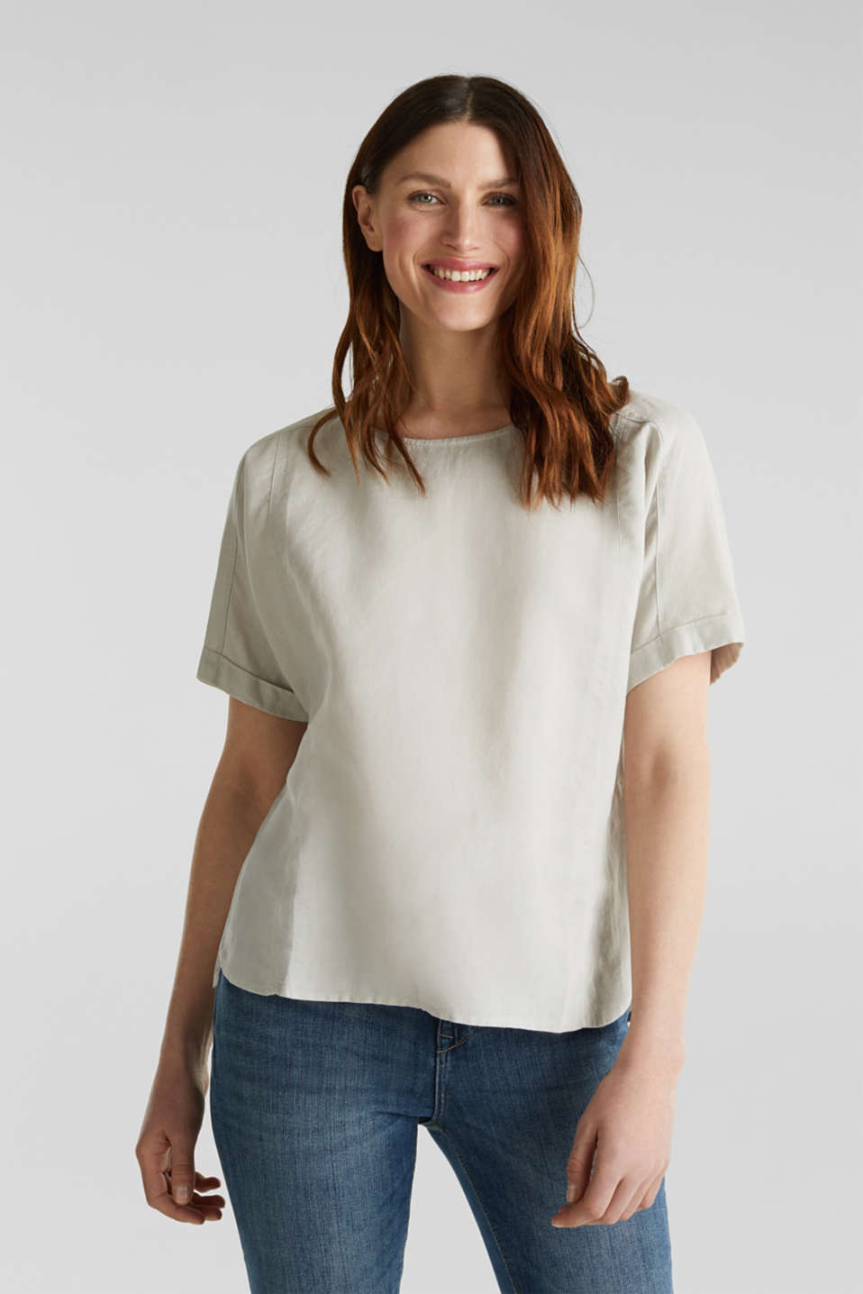 Linen blend: Blouse in a shirt shape, LIGHT BEIGE, detail image number 0