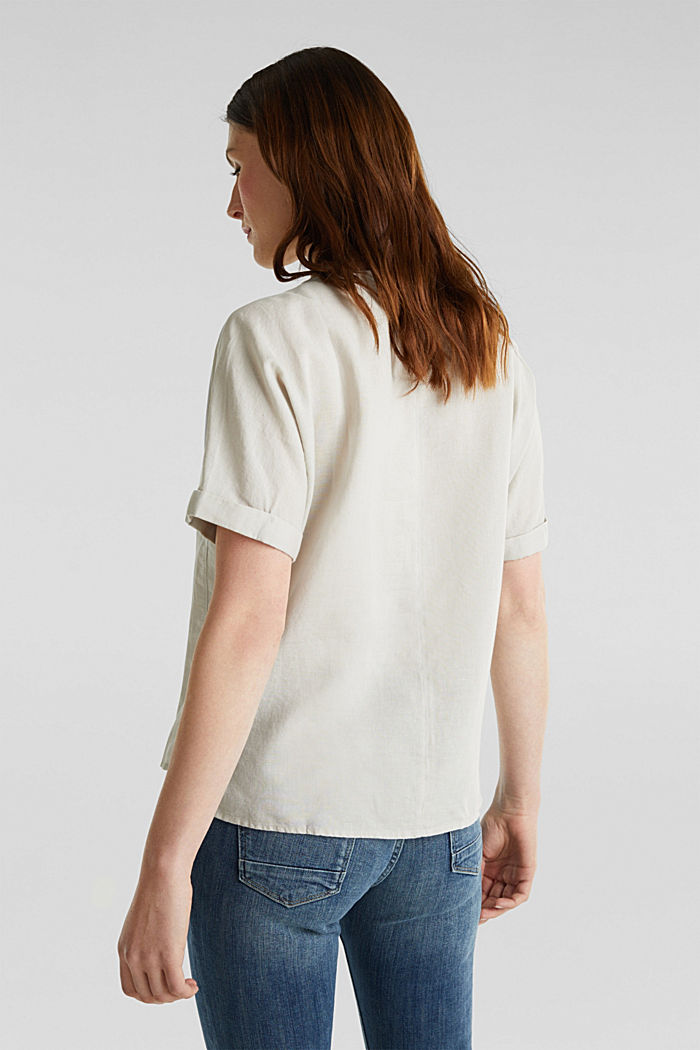 Linen blend: Blouse in a shirt shape, LIGHT BEIGE, detail image number 3