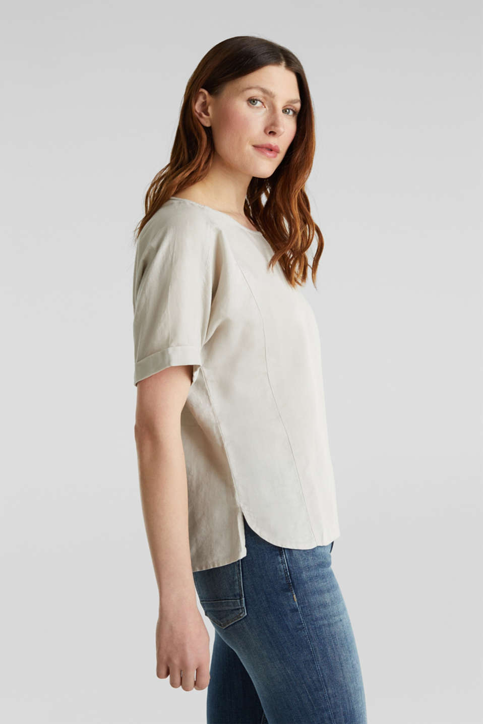 Linen blend: Blouse in a shirt shape, LIGHT BEIGE, detail image number 5