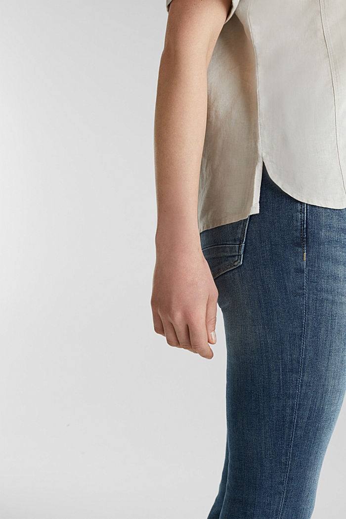 Linen blend: Blouse in a shirt shape, LIGHT BEIGE, detail image number 2