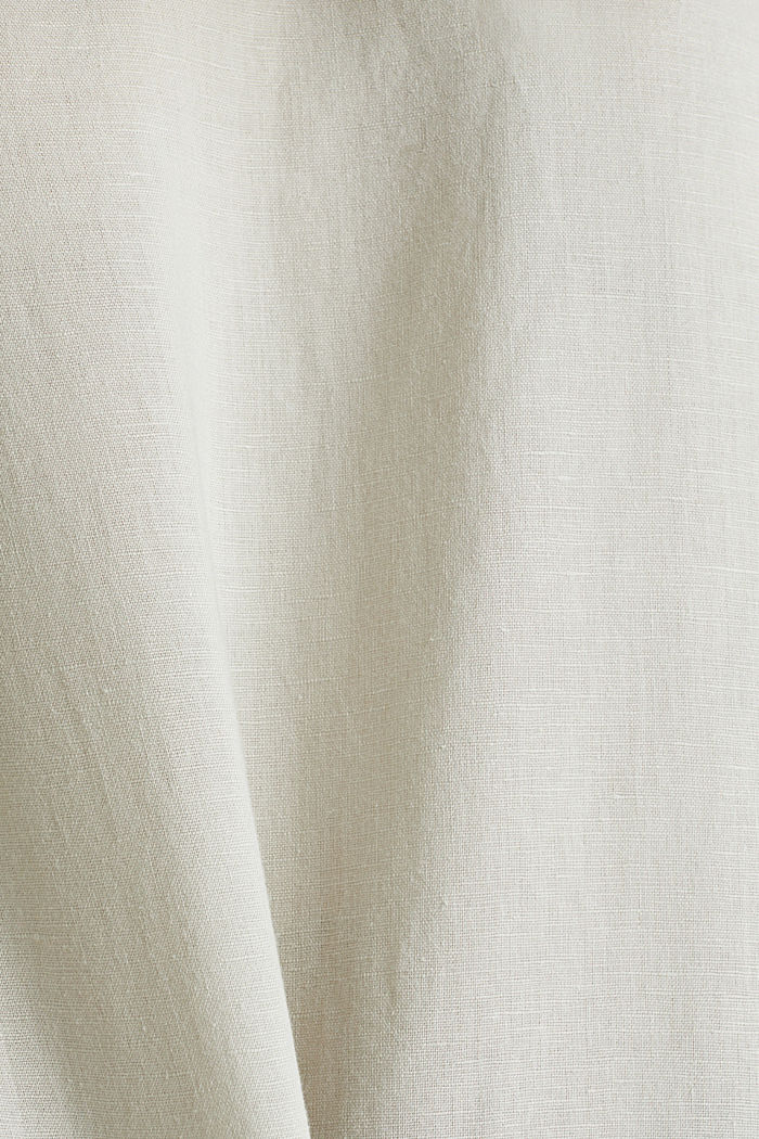 Linen blend: Blouse in a shirt shape, LIGHT BEIGE, detail image number 4
