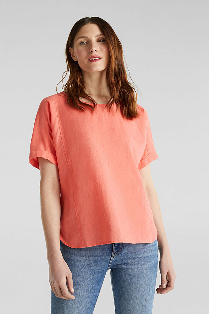 Linen blend: Blouse in a shirt shape, CORAL, detail image number 0