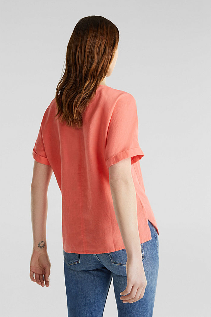 Linen blend: Blouse in a shirt shape, CORAL, detail image number 3