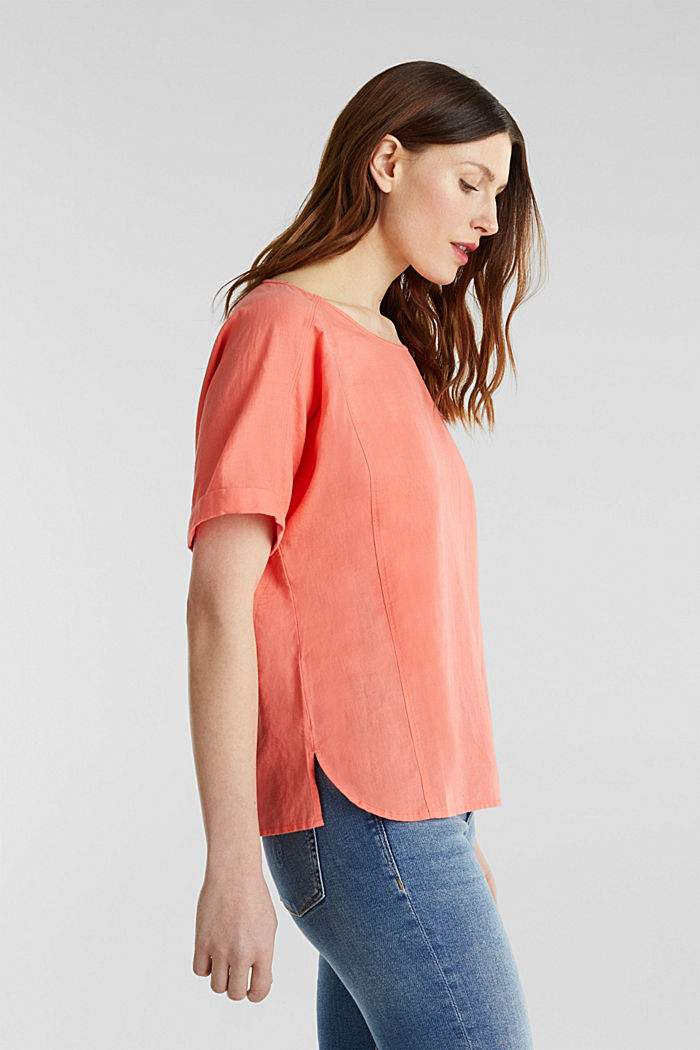 Linen blend: Blouse in a shirt shape, CORAL, detail image number 5