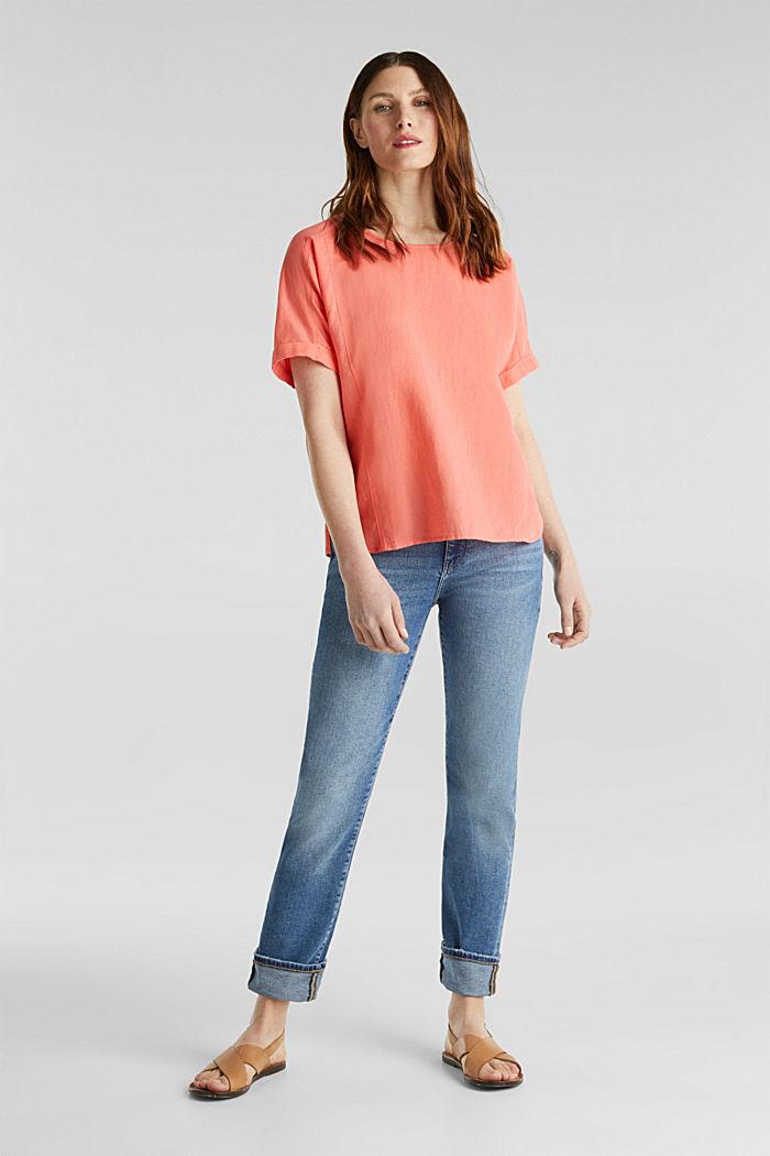 Aus Leinen-Mix: Bluse mit Shirt-Shape, CORAL, detail image number 1