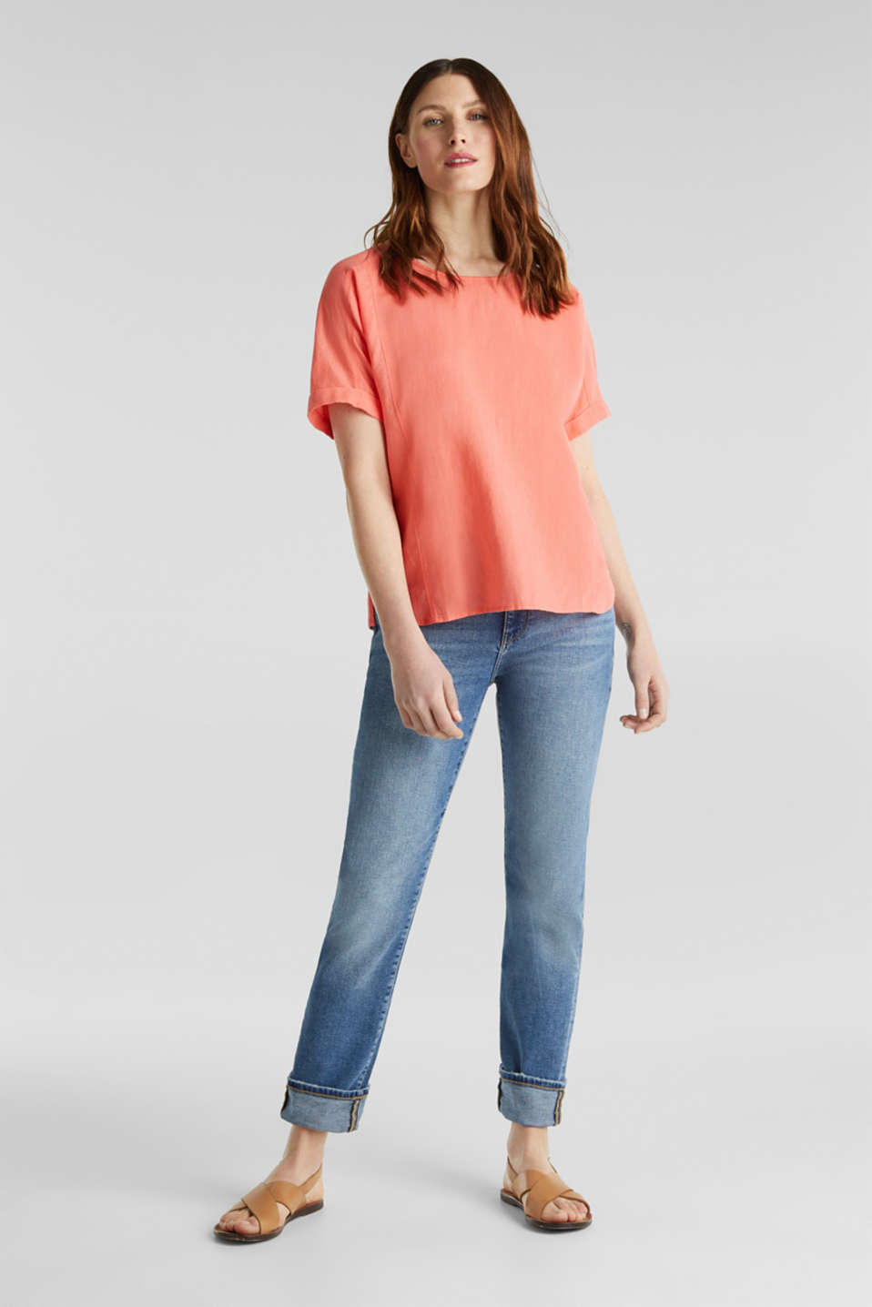 Linen blend: Blouse in a shirt shape, CORAL, detail image number 1