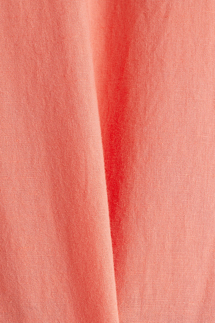 Linen blend: Blouse in a shirt shape, CORAL, detail image number 4
