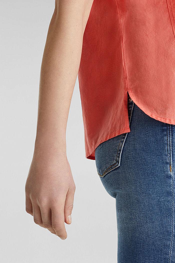 Aus Leinen-Mix: Bluse mit Shirt-Shape, CORAL, detail image number 6