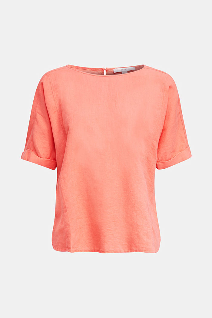 Linen blend: Blouse in a shirt shape, CORAL, detail image number 8