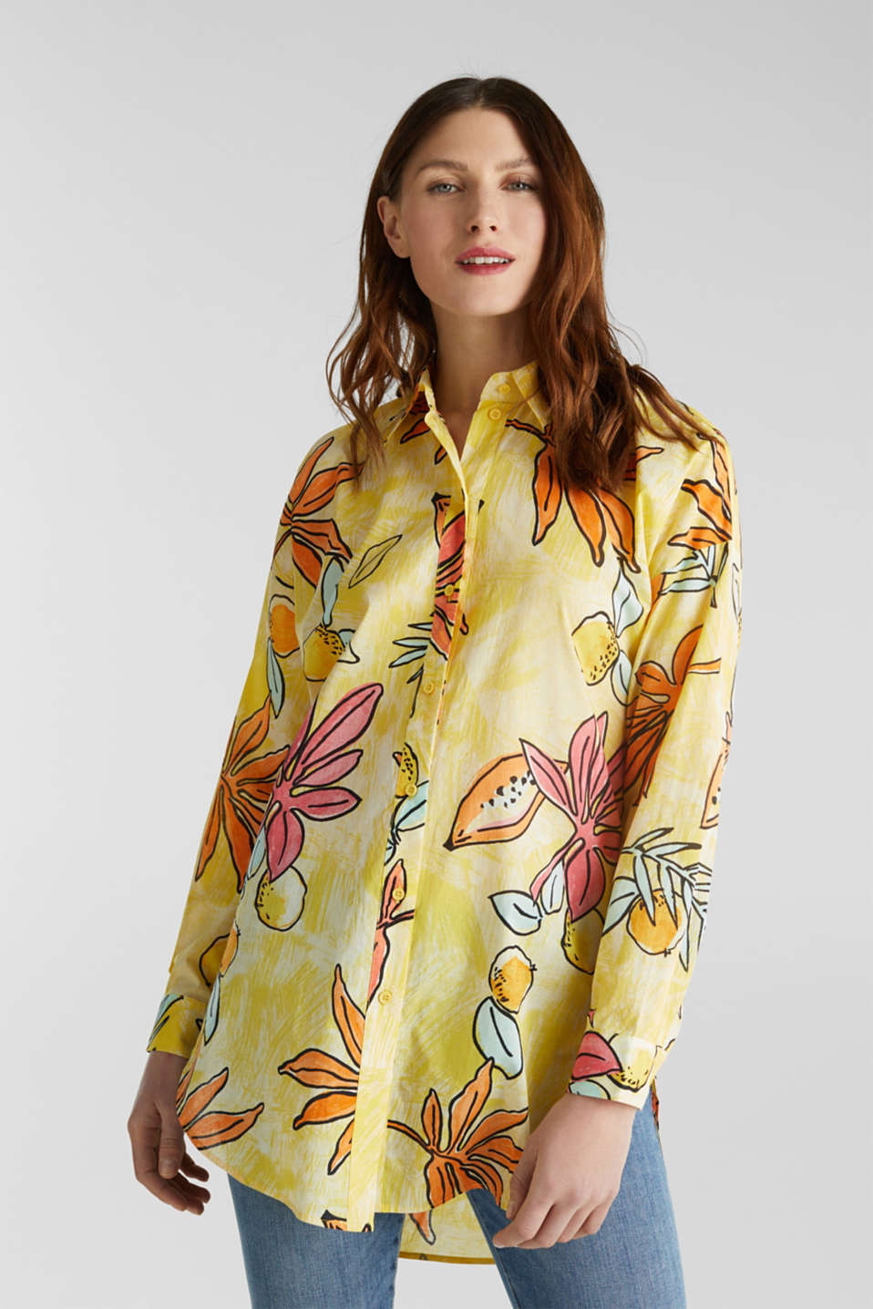 Long blouse with a print, 100% cotton, BRIGHT YELLOW 4, detail image number 0
